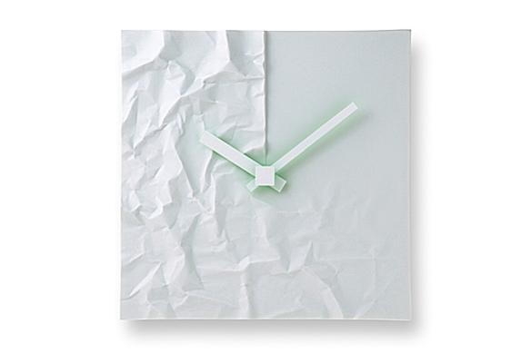 Crinkle Porcelain Clock by Makoto Komatsu for Lemnos