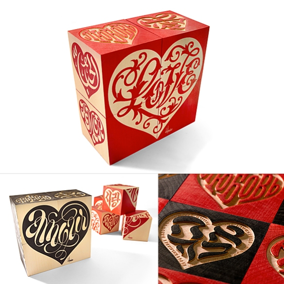 Love Heart Blocks by House Industries | moddea