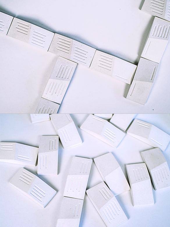 White BARE BONES Domino Set by The Principals   moddea