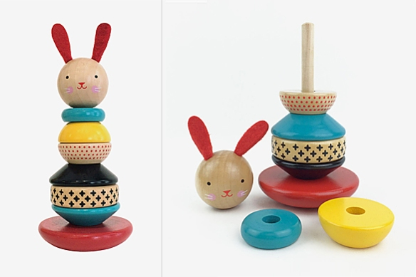 Modern Bunny Stacker Toy by Petit Collage | moddea